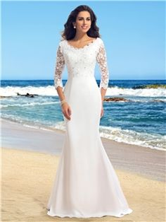 $ 119.99  V-Neck Lace Beading Mermaid Wedding Dress with Sleeves