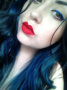 4th of July Makeup Red White Blue Blue Hair!!!
