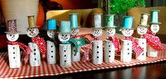 Wine cork christmas snowmen