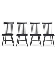 Furniture Bensen Dining Chair, Set (Set of 4 Chairs), Created for Macy's - Furniture - Macy's Black Kitchen Chairs, Black Dining Chairs, Dining Chair Set, Dining Room Table, Kitchen Dining, Dining Rooms, Dining Area, Side Chairs, Plywood Furniture