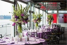 lilac and white tablescapes for hudsn river wedding at chelsea piers nyc