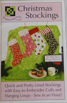"""Pattern, Christmas Stocking Pattern, Stocking, Easy, Fast, 16"""" L x 9"""" W, Cut and Sew in Less Than an Hour, Get Started Now!"""
