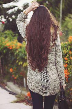 María Rubio Blog - ribbed sweater and tailbone-length hair