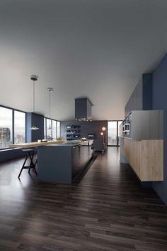L'îlot de cuisine offre un espace de rangement généreux pour les verres, les assiettes et bien plus encore, facilement accessibles depuis le comptoir. Leicht.