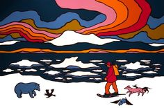 Ted Harrison | Dearest Nature Popular Artists, Famous Artists, Woodstock Poster, Ted, Yarn Painting, Canadian Painters, Tiny Tales, Illustration Art, Illustrations