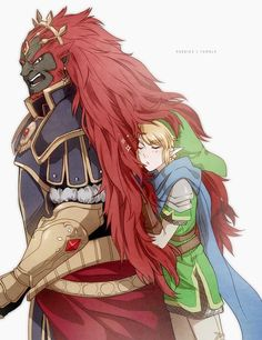 Hyrule Warriors Ganondorf and Link :D hahaha! I would want to touch his hair too