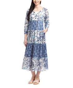 Look what I found on #zulily! Blue & Navy Floral Midi Dress #zulilyfinds
