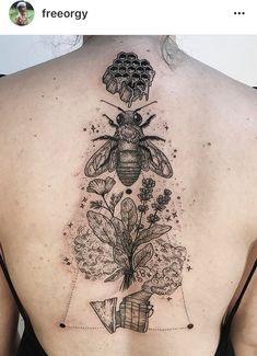 Flow of energy, Blackwork dotwork bee based tattoo