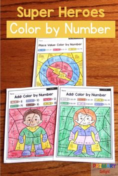 FREE Color by Number Super Heroes with Doubles, and Place Value Super Hero Activities, First Grade Activities, First Grade Math, Book Activities, Second Grade, Doubles Addition, Addition Facts, Teaching Subtraction, Hero Crafts