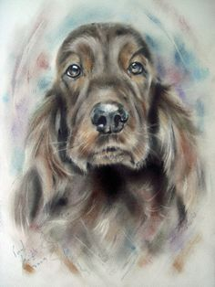 PASTEL ON PAPER X Commission If a copy would cheer up a wall then please take one, no prints are available ( the full sized image is watermark f. Sketch Painting, Love Painting, Artist Painting, Chien Springer, Diviant Art, Knight Art, Mundo Animal, Pastel Art, Spaniels
