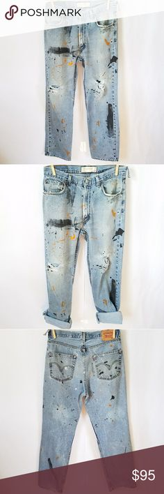 "Perfectly Distressed Vintage Retro Levi's One of a kind!! Men's size 34 x 32 550 relaxed fit Approximately 35"" waist 11"" rise 30.5"" inseam Partially frayed hem  1 broken beltloop Levi's Jeans"