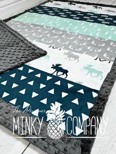 Moose Baby Blanket Designer Faux Quilt Moose Minky
