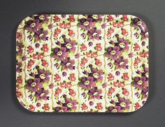 Birchwood tray with fabric (unknown design) Print on cotton 1930s