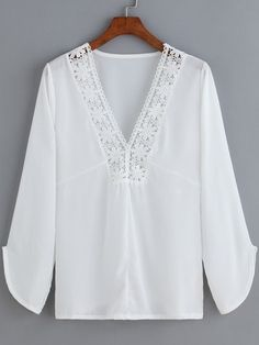 SheIn(sheinside) White V Neck Floral Crochet Chiffon Blouse Linen Tunic, Linen Blouse, Tunic Blouse, Shirt Blouses, Tunic Tops, Der Leopard, White V Necks, Lace Collar, Long Sleeve Tunic