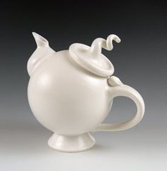 Wheel-thrown and hand-built glazed porcelain teapot.  >> Signature Teapot Ceramic Teapot by Lilach Lotan