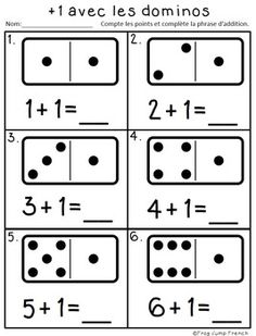 Addition avec les dominos // French Adding with Dominoes by Frog Jump French Math Activities For Kids, Kindergarten Math Worksheets, Preschool Math, Math For Kids, Math Resources, Teaching Math, Flashcards For Kids, French Language Lessons, Math Groups