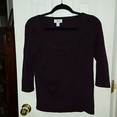 Plum loft top Size medium Ann Taylor Loft plum colored top has three quarter length sleeves ruffle design on front knit material no rips no stains smoke-free pet-free home excellent condition LOFT Tops Blouses
