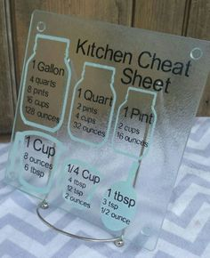 Cooking measurement conversions cutting board, kitchen cheat sheet, decorative glass cutting board, housewarming gift, from BeaulieuBarn on Etsy. Vinyle Cricut, Cooking Measurement Conversions, Kitchen Cheat Sheets, Kitchen Conversion, Cooking Measurements, Glass Cutting Board, Cutting Boards, Vinyl Cutting, Ideas Para Organizar