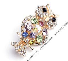 4x2cm Gold Owl Alloy Acrylic Diamond Fashion Modern Brooch  #eozy