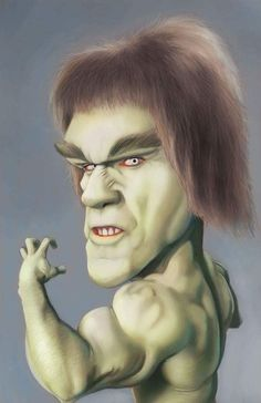 lou ferrigno era el hombre verde Hulk by Dwayne Bruce Cartoon Faces, Funny Faces, Cartoon Art, Cartoon Characters, Caricature Artist, Caricature Drawing, Funny Caricatures, Celebrity Caricatures, Famous Cartoons
