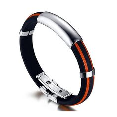 * Penny Deals * - SumBonum Jewelry Mens Silicone Stainless Steel Bracelet, Great Wall Charms ID Tag Cuff Bracelet, Black Orange Silver, 8' * Click image for more details.