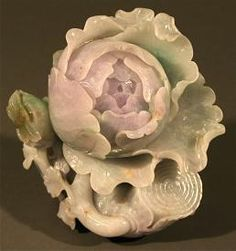 Chinese antique lavender Jade peony with butterfly