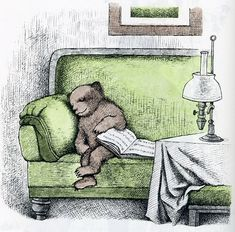 An illustration from Else Holmelund Minarik's Little Bear's Visit, from the line of Little Bear children's books published by Harper Brothers, United States, by Maurice Sendak. Maurice Sendak, I Love Books, Good Books, My Books, Book Art, Drawn Art, Children's Book Illustration, Book Illustrations, Lectures