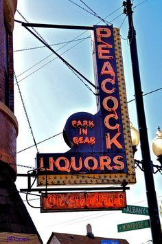 Old liquor store sign by J DORAN, via Flickr, Peacock Liquors