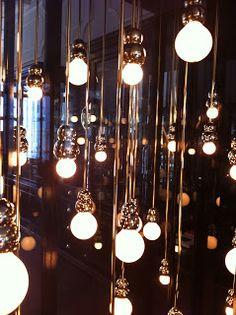 bulbs on brass poles London Design Festival, Party Lights, Interior Lighting, Interiores Design, Light Bulb, Chandelier, Ceiling Lights, Wallpaper, Project Management