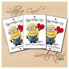 Despicable Me Minion Valentines Day  Tag Card Lollipop Or Cake Pop cakepins.com