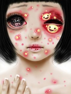 "Saccstry is a 22 year old American artist who ""likes to destroy pretty things."" Her art style is like if you put some gore, space, nature, and kawaii girls"