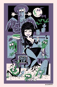 """Original Elvira """"Tiki"""" Poster by Derek"""