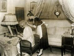 Edwardian lady and maid --- (doesn't look Edwardian to me;