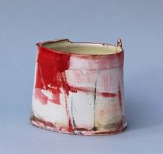 'Red City Vessel II' - Inspired by mark-making and painting, Barry takes a relaxed, direct approach to vessels. He aims to create a sense of drama that is fresh and exciting, exploring vibrant colour compositions and exploiting the gestural qualities of fluid brush marks and soft clay. His ceramics are made with red earthenware clay and are usually wheel thrown and altered, or constructed from soft slabs and then painted with coloured slips, stains, oxides and glaze…
