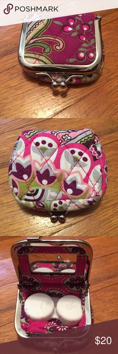 Vera Bradley contact case Vera Bradley contact case! Super cute. Perfect for trips or for throwing this in your purse on the go! I did use this a handful of times when I was traveling, but I won't be needing this anymore since I got lasik done recently. This is in great condition and deserves to be used! I offer great discounts when bundling 2 or more items! Feel free to make reasonable offers  Vera Bradley Accessories Glasses