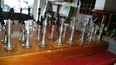 Lovely Solid Metal Vintage Chess Set w/ Board 32 by CheckMate88