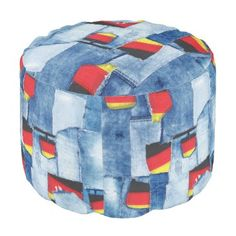 """Title : Denim Designs, Denim & Germany Patches Pouf  Description : Fabrics, Textiles, """"Denim-Designs"""", Denim, """"Blue-Jeans"""", """"Distressed-Jeans"""", """"Distressed-Denim"""", Fashions, Trendy, Stylish, """"Girly-Chic"""", """"Tattered-Jeans"""", """"Worn-Jeans"""", """"Torn-Jeans"""", Western, Countries, America, """"South-America"""", Britain, United-Kingdom, Ireland, Irish, Scotland, Scottish, Germany, """"Nationality-Flags"""", Decals, Gifts, """"Unique-Gifts"""", """"Patchwork-Jeans"""", """"Frayed-Jeans"""", """"Ripped-Jeans"""", """"For-Her"""", """"For-Hi..."""