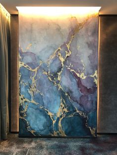 Blue and Purple Watercolour Marble Effect by Elsa Jeandedieu Studio at Atelier Marble Effect Paint, Marble Painting, Marble Wall, Marble Effect Wallpaper, Watercolor Wallpaper, Watercolor Walls, Purple Marble, Paint Effects, Room Wallpaper