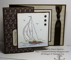 I was using up some of my retired Nautical Paper and made a few of these cards using the Retired Sail Away stamp.  I love this stamp and I almost forgot I had it. The cardbase is Early Espresso with a layer of embossed (Stripes) Sahara Sand, with some retired Early Espresso Ribbon.  I stamped my image with Jet Black Staz On Ink and watercolor using my ink pads and aqua painter.  http://stampinbythebay.blogspot.com/2014/10/retired-sail-away-card.html
