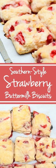Southern-Style Strawberry Buttermilk Biscuits will melt in your mouth as just-sweet-enough roasted strawberries add a welcome burst of flavor. Simple, quick, and easy. | theeverykitchen.com