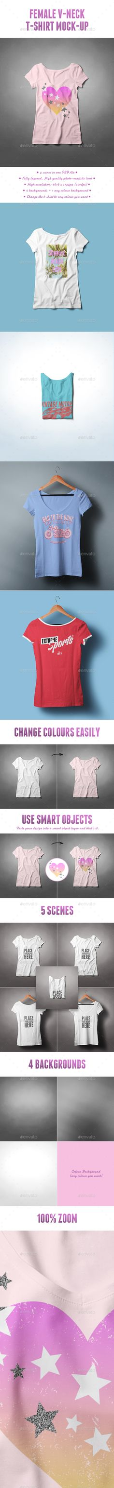 Female V-Neck T-shirt Mock-up