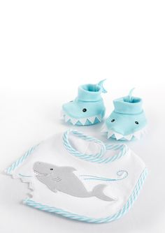 BABY ASPEN Chomp Stomp Shark Bib and Booties Gift Set- Baby Shower-gifts- The Better Half Boutique, Los Alamitos CA #betterhalfboutique