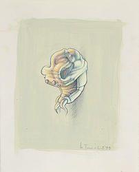 """""""Fusion 21"""" von Matthias Triet   Acryl & Farbstift auf Kopierpapier   17 x 21 cm   www.einfachKunst.ch   Art   Basel   Schweiz"""
