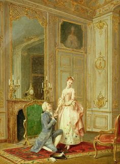 The Proposal Painting by Manuel Garay y Arevalo Romantic Paintings, Classic Paintings, Old Paintings, Baroque Painting, Baroque Art, Victorian Paintings, Victorian Art, Victorian Bedroom, Historical Art