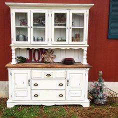 Rustic white farm style china cabinet with BARNWOOD, yes barnwood, top {Junk Love Boutique}