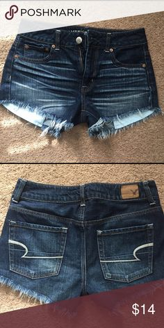 Blue jean shorts. WORN ONCE. Super comfy, pockets are meant to be longer, I did not cut them, this is the way they were made. American Eagle Outfitters Shorts Jean Shorts
