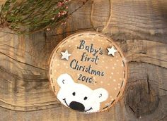 Baby's First Christmas Ornament, Wood Polar Bear, Personalized Ornament, New Baby Christmas Gift, Ba
