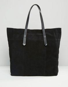 Image 1 ofPieces Large Suede Shoulder Bag