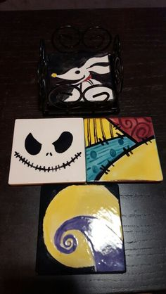 Nightmare Before Christmas coasters made by me.