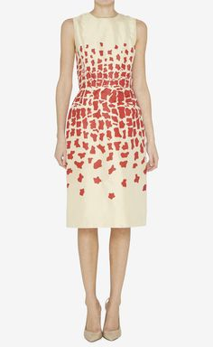 Oscar de la Renta Cream And Red Dress